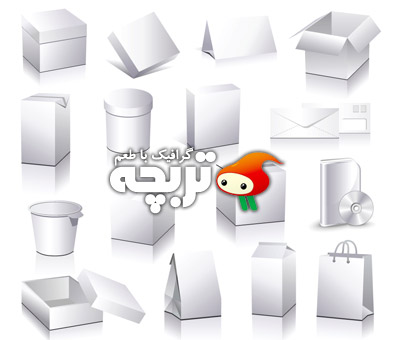 دانلود وکتور جعبه های سه بعدی ۳D Boxes Vector