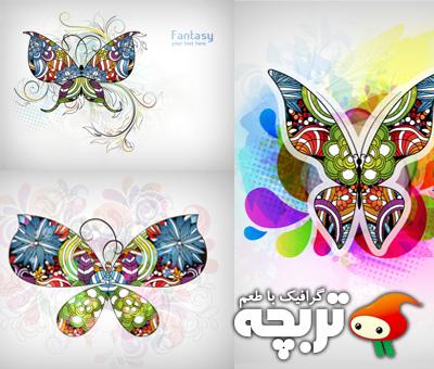 دانلود وکتور پروانه های انتزاعی Abstract Butterfly Vector