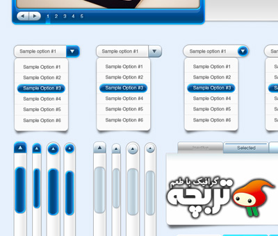 دانلود عناصر طراحی وب آبی رنگ Blue Web Design Elements PSd