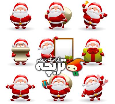 دانلود وکتور آیکون بابانوئل Christmas Vector Icons