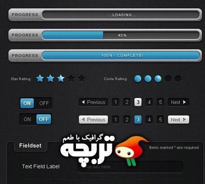 دانلود عناصر لايه باز طراحی وب تيره Web Design Psd