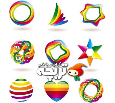 المنت های رنگی طراحی لوگوی انتزاعی