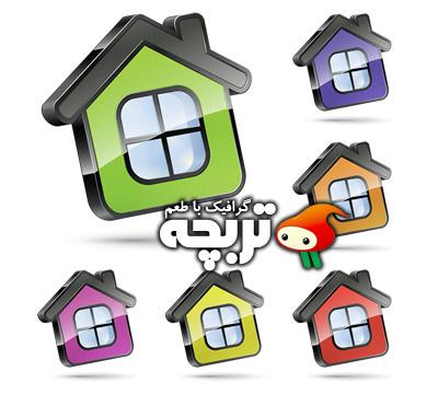 دانلود وکتور آیکون خانه سه بعدی 3D Home Vector Icon