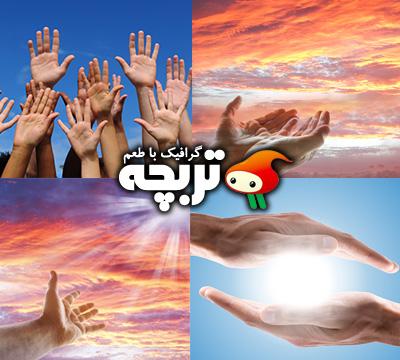 تصاویر با کیفیت دستهای رو به آسمان Hand At The Sky ShutterStock