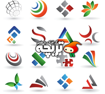 دانلود وکتور المنت طراحی لوگو رنگارنگ Colored Logo Design Element Vector