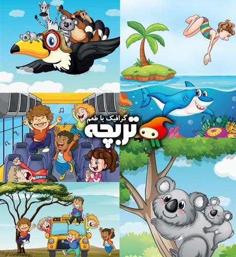 دانلود وکتورهای کارتونی کودکان و حیوانات Children And Animal Cartoon Vectors