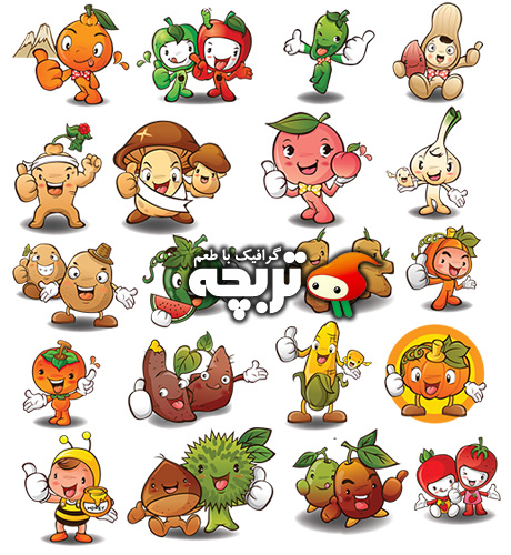دانلود وکتور میوه و سبزیجات کارتونی Fruit And Vegetables Vector