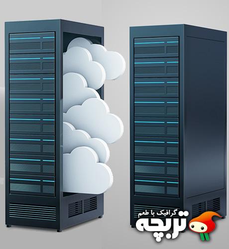 طرح لایه باز سرور ابری Cloud Server PSD