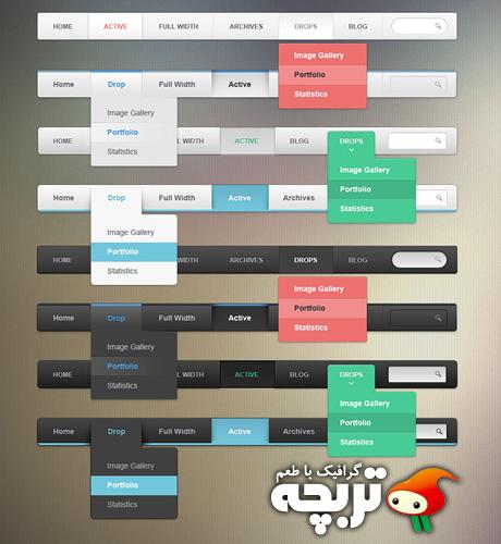 دانلود طرح لایه باز منوی وبسایت Web Menu Bars PSD