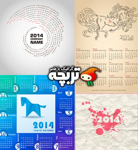 دانلود وکتورهای تقویم میلادی 2014 Calendars 2014 ShutterStock