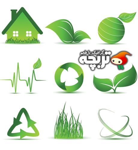 وکتور آیکون های سبز محیط زیست