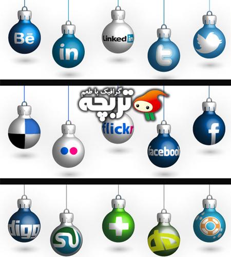 دانلود آیکون های کریسمس شبکه اجتماعی