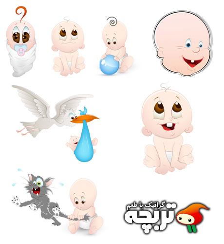 دانلود وکتورهای فانتزی کودک Cartoon baby Vectors