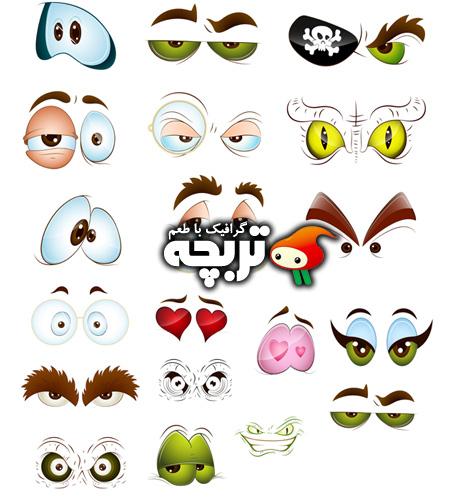 دانلود وکتورهای کارتونی چشم Cartoon Eyes Vectors Set 01