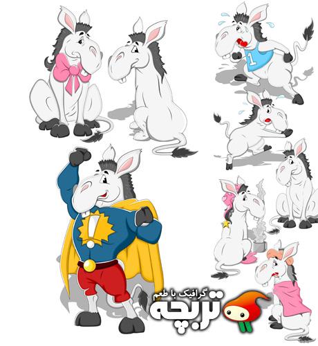 دانلود وکتورهای کارتونی الاغ Donkey Cartoon Vectors