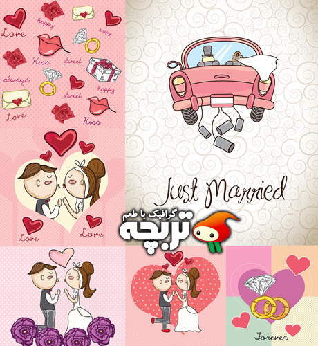 دانلود وکتورهای فانتزی ازدواج Just Married Vectors