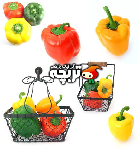 دانلود تصاویر با کیفیت فلفل دلمه ای رنگی Pepper ShutterStock