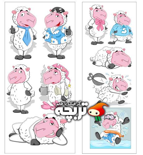 دانلود وکتورهای کارتونی گوسفند Cartoon Sheep Vectors