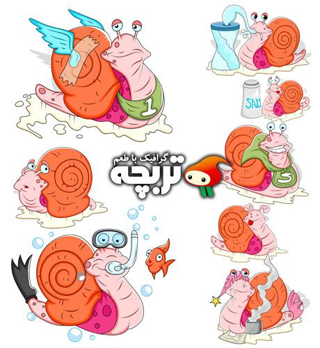 دانلود وکتورهای کارتونی حلزون Snail Cartoon Vectors