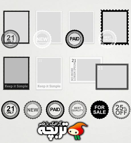 دانلود طرح لایه باز تمبر و مهر و موم Stamp And Seals PSD Layout