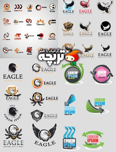 دانلود لوگو المنت های کسب و کار Business Logos Eagle And Arrow