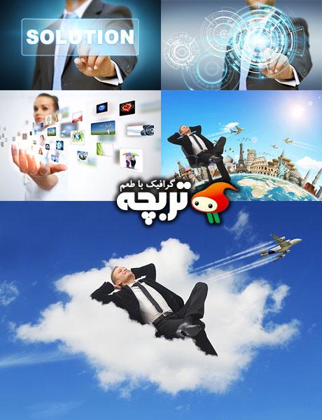 دانلود تصاویر با کیفیت کار با رابط های لمسی BusinessMan Touching Interface