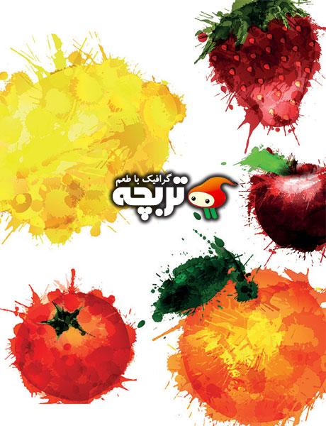 دانلود وکتور میوه های آبرنگی Fruit Blots WaterColor Vectors