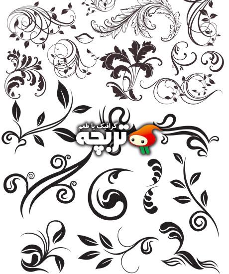 دانلود وکتورهای گل و بوته دورانی Swirl Floral Ornaments