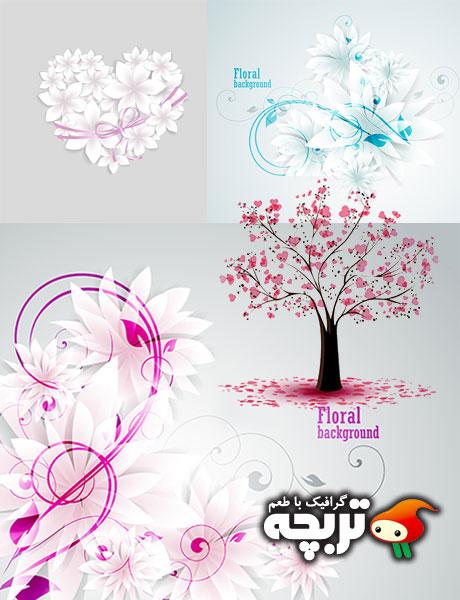 دانلود وکتور گل های کاغذی و درخت قلبی Paper Flower And Tree Heart