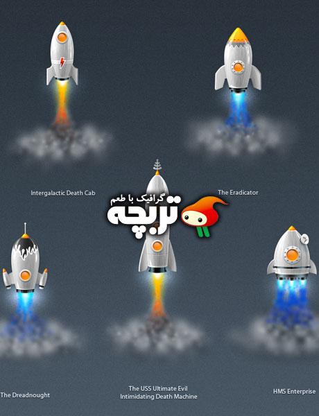 دانلود طرح لایه باز راکت های فضایی GraphicRiver Rocket Ship