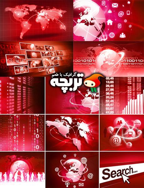 دانلود تصاویر با کیفیت نمودارهای تکنولوژی Red Technology Diagrams