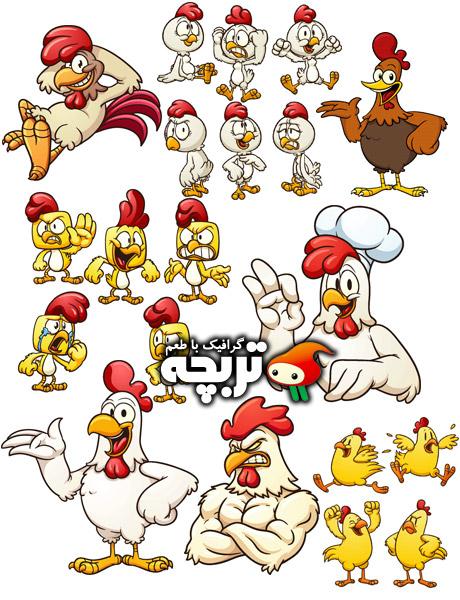 دانلود کاراکترهای خلاقانه مرغ و خروس Creative Chicken Charachters ShutterStock
