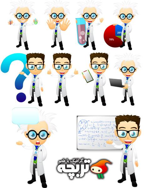 دانلود طرح لایه باز آدمک دانشمند GraphicRiver Scientist Mascot