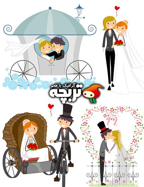 دانلود مجموعه وکتورهای ازدواج Wedding Vectors