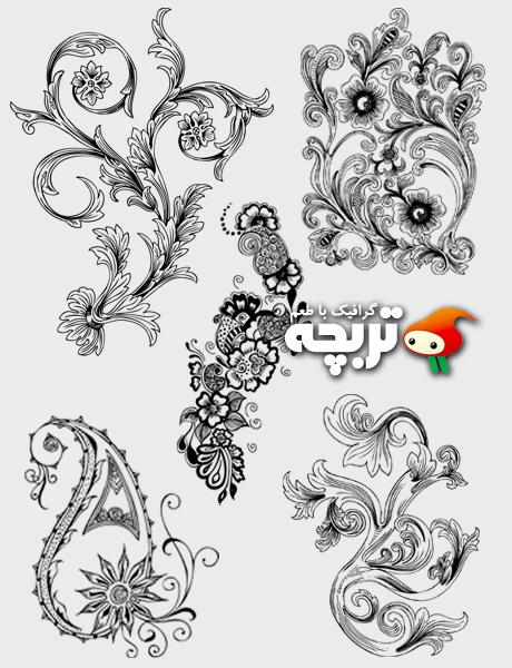 وکتورزیبا گل تزئینی Beautiful Decorative Floral Vector