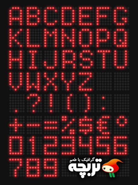دانلود طرح لایه باز حروف ال ای دی قرمز Red LED Font PSD