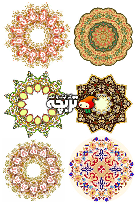 دانلود وکتور الگوهای سنتی زیبا, Beautiful Traditional Pattern Vector