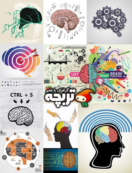 دانلود وکتورهای مفهومی مغز Brain Concepts Vectors