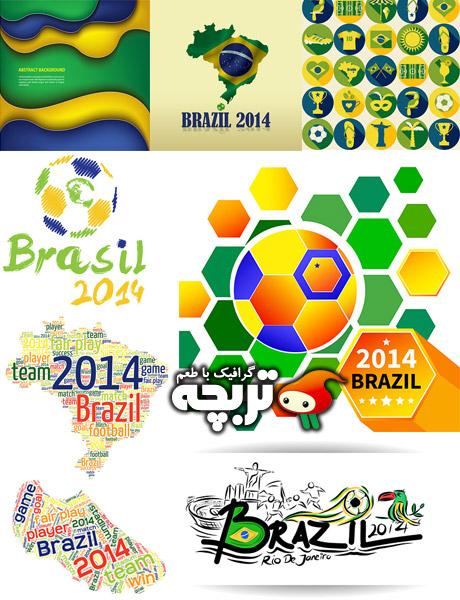 دانلود وکتورهای جام جهانی 2014 برزیل Brazill 2014 Football