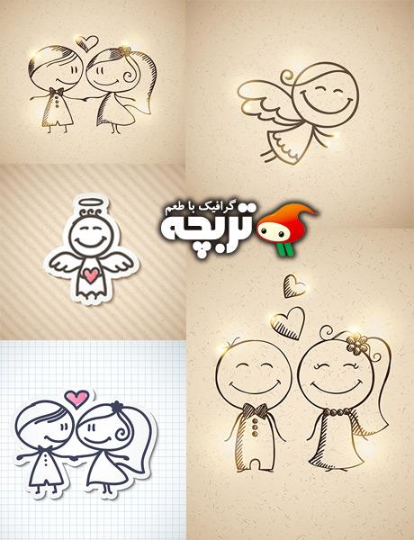 دانلود وکتور فانتزی عشق Love Cartoon Vectors
