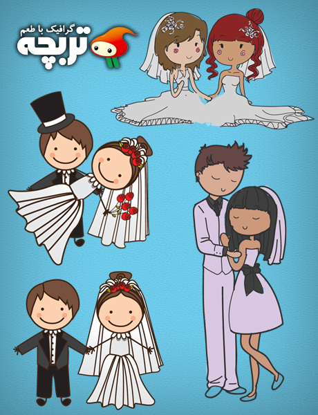 دانلود وکتور عروس و داماد Bride & Groom Vector