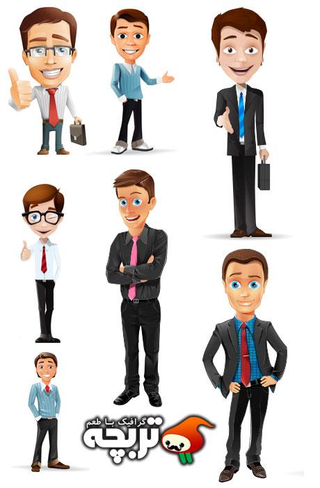 دانلود طرح لایه باز کاراکتر مرد تاجر BusinessMan Character Set 1