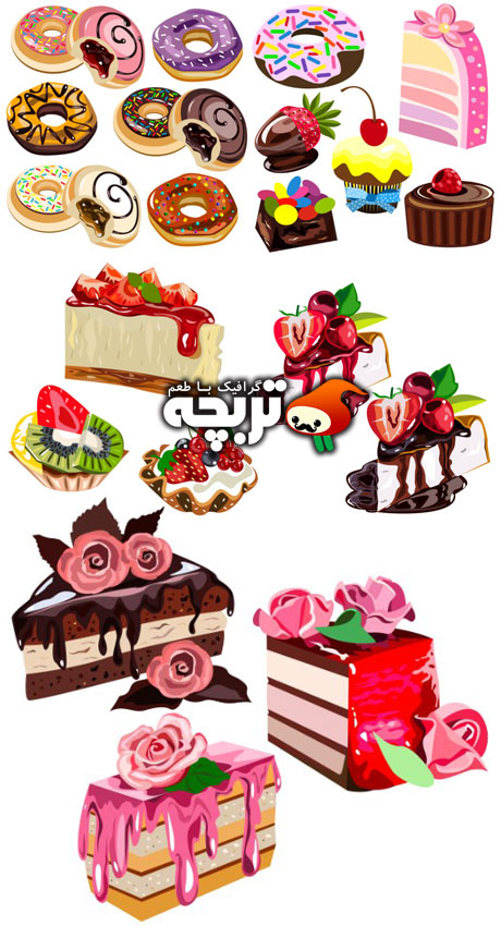 دانلود وکتور کیک و دسر cakes And Dessert Vectors