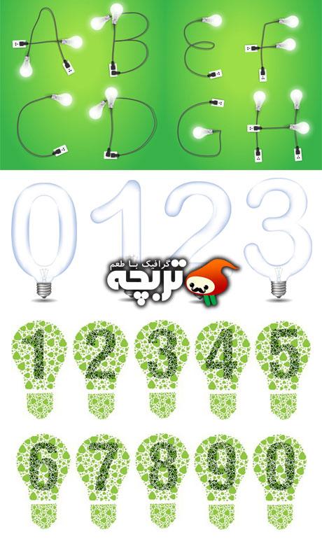 دانلود وکتور حروف و اعداد لامپی Creative Light Bulb Alphabet