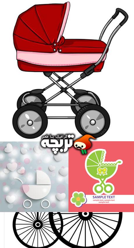 دانلود وکتور کالسکه کودک Baby Bug Vectors