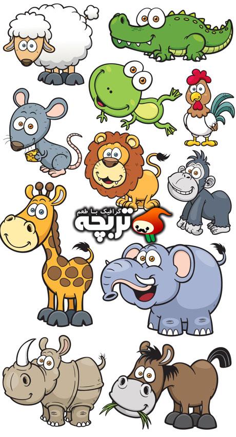 دانلود وکتورهای فانتزی حیوانات Cute And Funny Animals Vector