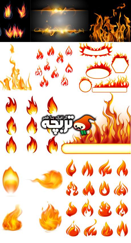 دانلود وکتور المنت های آتش Fiire Element Vectors