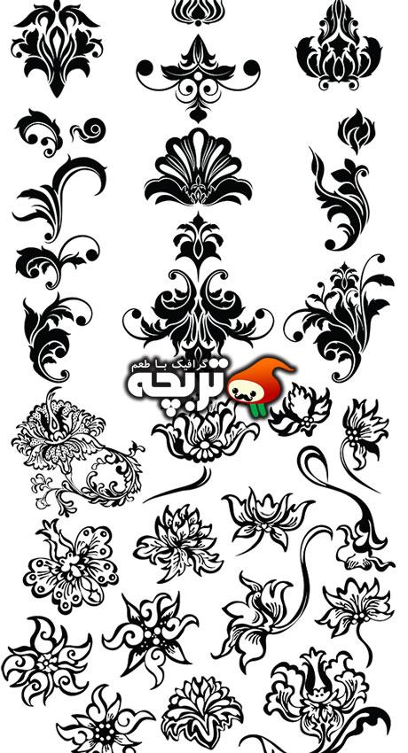 دانلود وکتور المان های زینتی گل و بوته Floral Ornaments Element