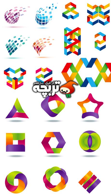 دانلود وکتور لوگو المنت های رنگارنگ Colored Logo Element Design