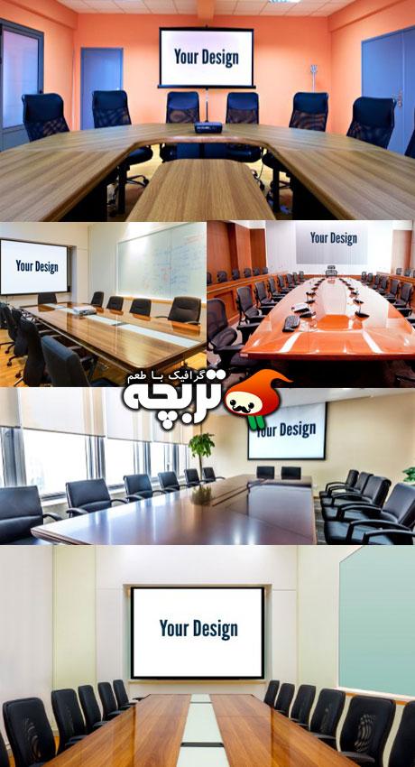دانلود طرح لایه باز پیش نمایش اسلایدر دفتر Slide Present Office Mockup